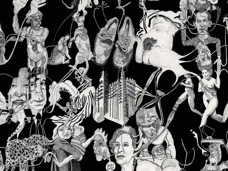 artwork in black and white depicting a multitude of imagery