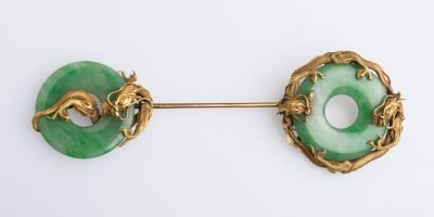Jade and gold brooch, Chinese, owned by Anna Freud