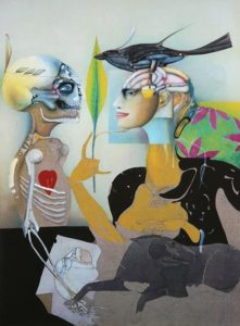 A surrealist image containing 2 figures: a skeleton, facing an android woman with a bird on her head.