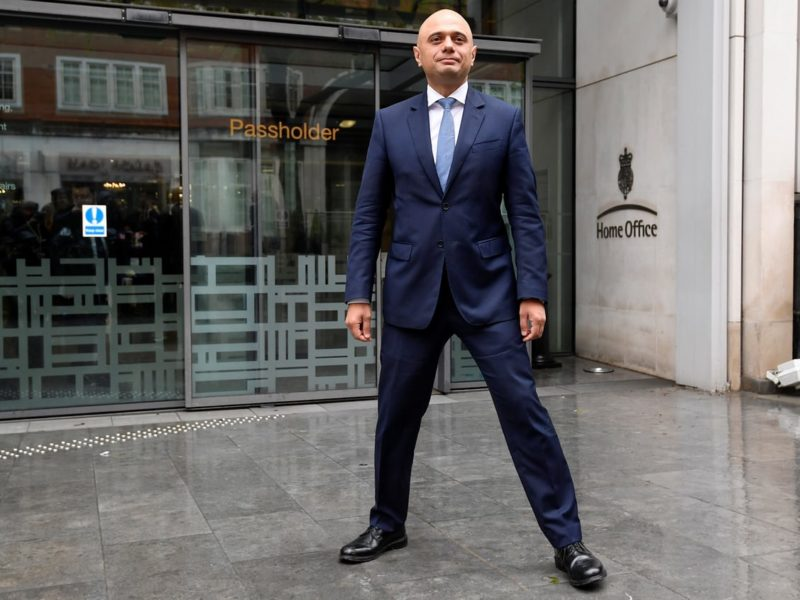 Photo of Sajid Javid standing with his legs apart