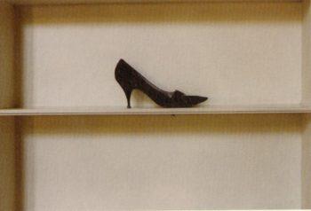 Photograph of a black high heel shoe on a shelf