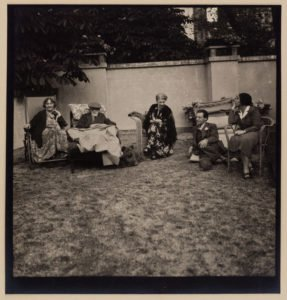 Marie Bonaparte, Sigmund, Martha and Ernst Freud and Josefine Stross at Marie Bonaparte's house in Paris during the Freuds' journey to England, 1938