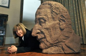 Jane McAdam Freud, with her sculpture of her father, Lucien Freud