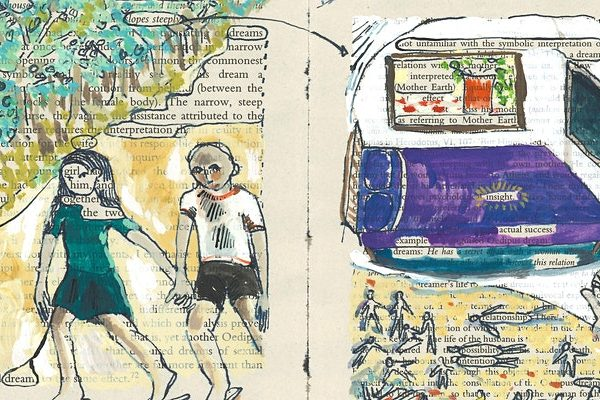 dreamsid, Julia Lockheart, painted dream in book of boy and girl walking, bed.