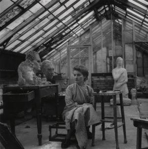 Anna Mahler, Sculptor in her studio
